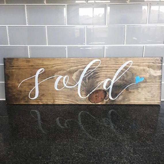 Sold sign  New home sale  Barn wood sign