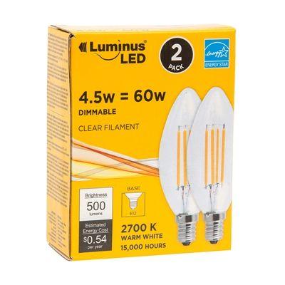 Luminus PB9302 60W Equivalent Clear Filament E12 Candelabra LED Light Bulbs (2 Pack)