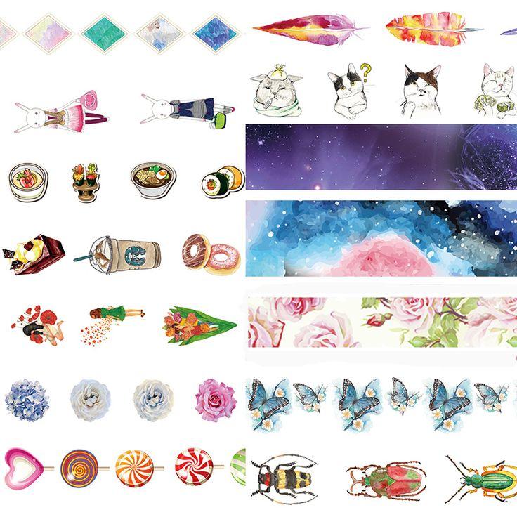 Alideco washi cintas de plumas mariposa gato decorativo adhesivo scrapbooking diy papel japonés pegatinas tamaño 1.5 cm * 10 m