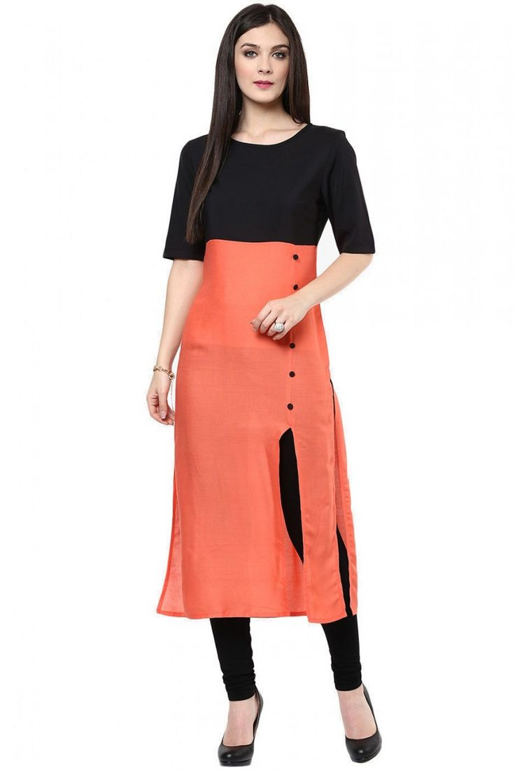 Cotton Party Wear Kurti in Orange Colour...
