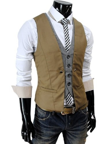TheLees Mens premium layered style slim vest waist coat:Style Slim, Slim Vest, Premium Layered, Men Premium, Vest Waist, Waist Coats, Men Fashion, Layered Style, Thelees Men