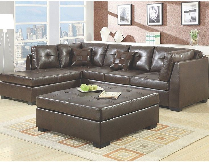 Sectional L Shaped Sofa Foam Cushions Hardwood Frame Tufted Bonded Leather Brown