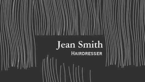 Cute Modern Gray Hair Haircut Strands Hairdresser Business Cards - $23.95 http://www.zazzle.com/cute_haircut_hairdresser_hairstylist_business_card-240201556302092155?rf=238835258815790439&tc=gbcwebpin A unique and simple gray hairdresser business card with strands of strait cut hair as the background. This modern and stylish design is perfect for the certified beautician. Add your contact information to the back of this fun hair salon card when you visit the product page.