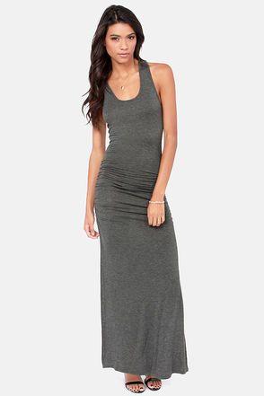 Ruche Hour Dark Grey Maxi Dress at Lulus.com!