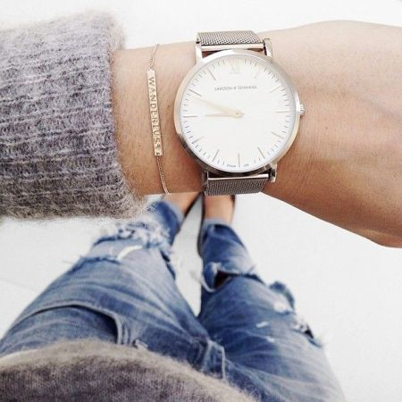 gray sweater with watch, Stacking bracelets with watches http://www.justtrendygirls.com/stacking-bracelets-with-watches/