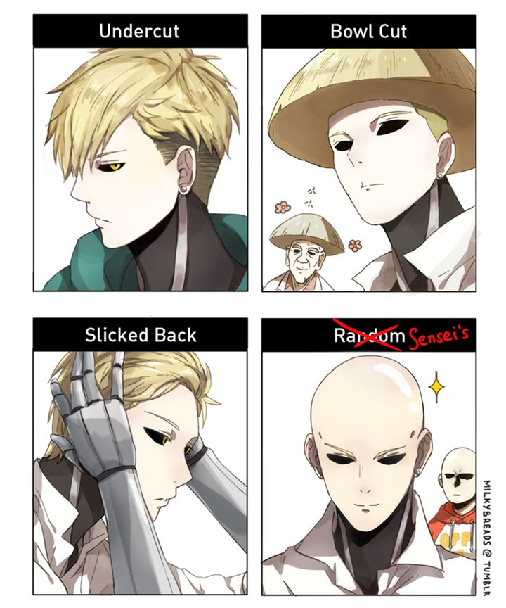 """milkybreads: """" My version of Genos in hairstyle meme. Sorry if it's been done before. """""""