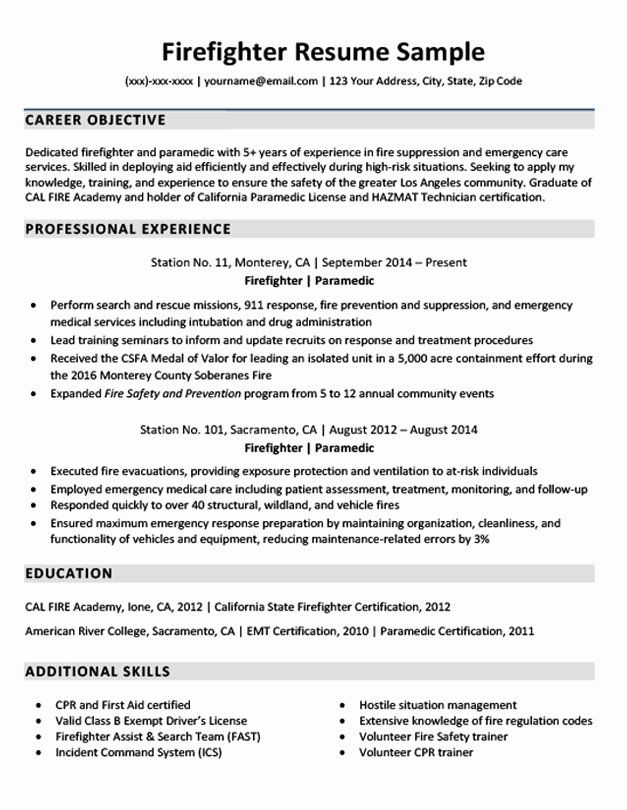 Entry Level Firefighter Resume Inspirational Firefighter Resume Example In 2020 Firefighter Resume Job Resume Examples Cover Letter Example
