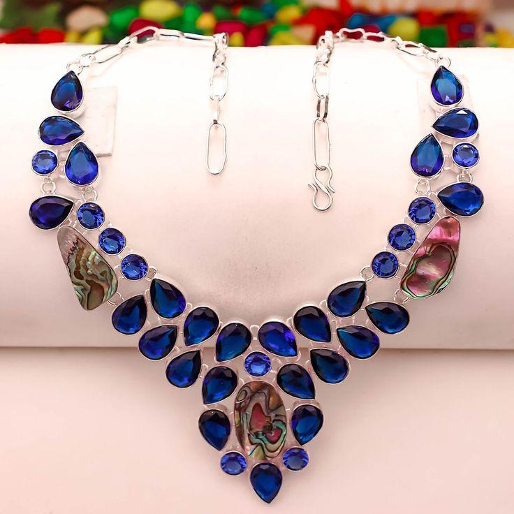 ABALONE SHELL, BLUE SAPPHIRE GEMSTONE SILVER OVERLAY HANDMADE JEWELRY NECKLACE #Handmade #Collar