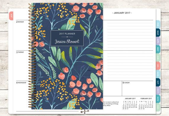 personalized planner 2017 & 2018 calendar add by posypaper