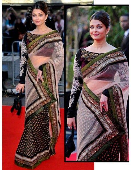 Aishwarya Rai In Black & White Sari Item code : SMBW04
