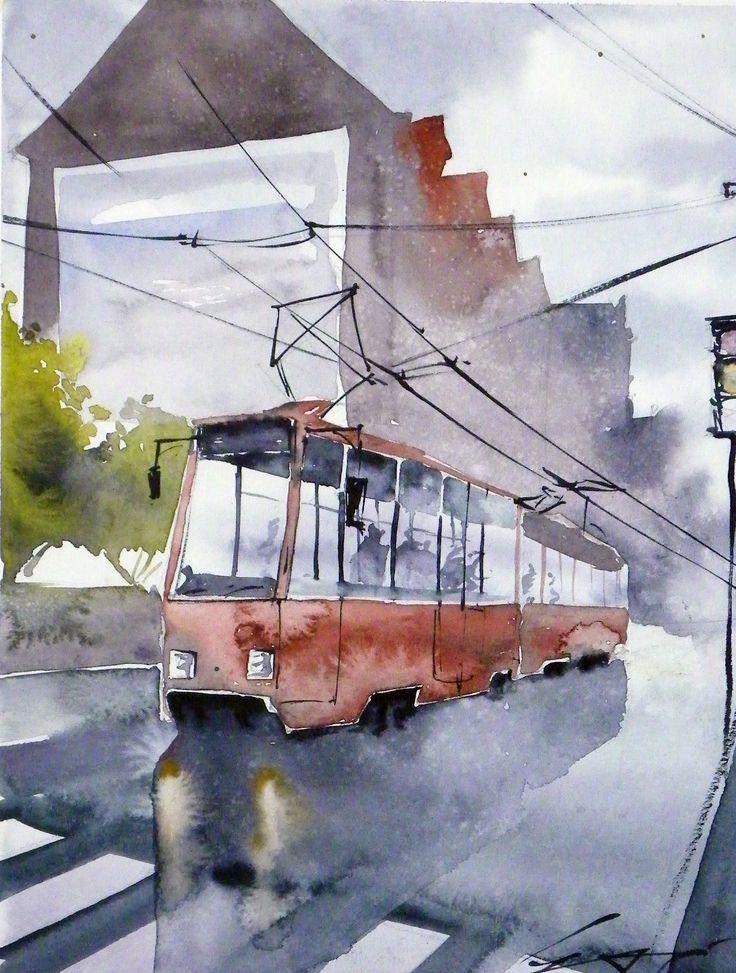 Tram on Poznan streets. Watercolour / Tramwaj na poznańskiej ulicy. Awkarela