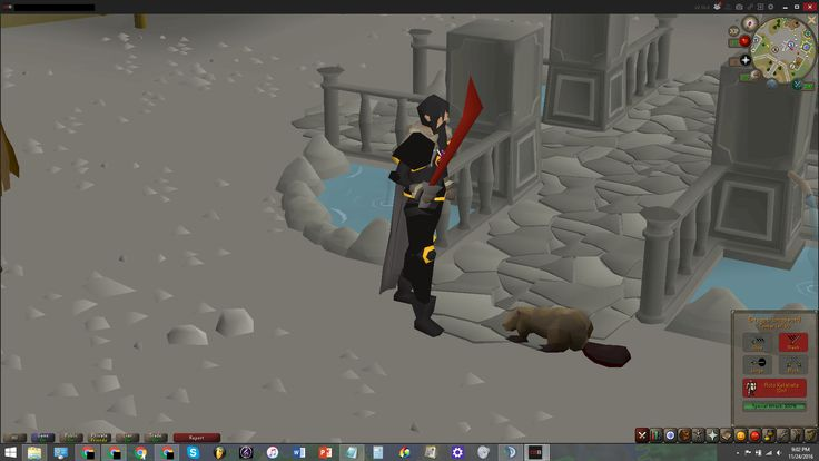 I know this isn't impressive but I've never done this before on any previous accounts. Lvl. 50 wielding Dragon longsword  97 Woodcutting and pet Beaver.