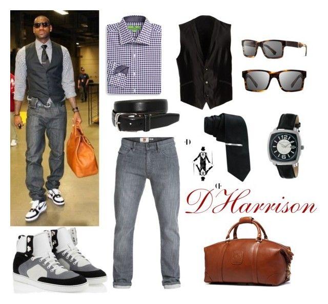 King Style by dharrisonsdesigns  A black waistcoat and dark grey jeans make a sharp classy look. So it's not so formal, pick a pair of white and black high top sneakers.  #DHarrison #personalshopper #menswear #GentlemanGear #GrownManStyle #Waistcoat #GinghamShirt #Jeans #HighTop #Sneakers #Leather #DuffleBag #Tie #Belt #Sunglasses #Watch #ManuelRitz #Shwood  #TorinoLeatherco #JFJFerrar #Ghurka #JimmyChoo #Quicksilver #Saks #Lebron