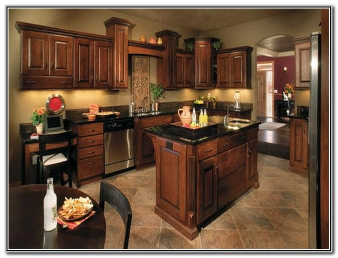 18 best images about kitchen on pinterest dark wood for Kitchen paint colors with dark wood cabinets