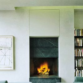 Black and white fireplace with marble.