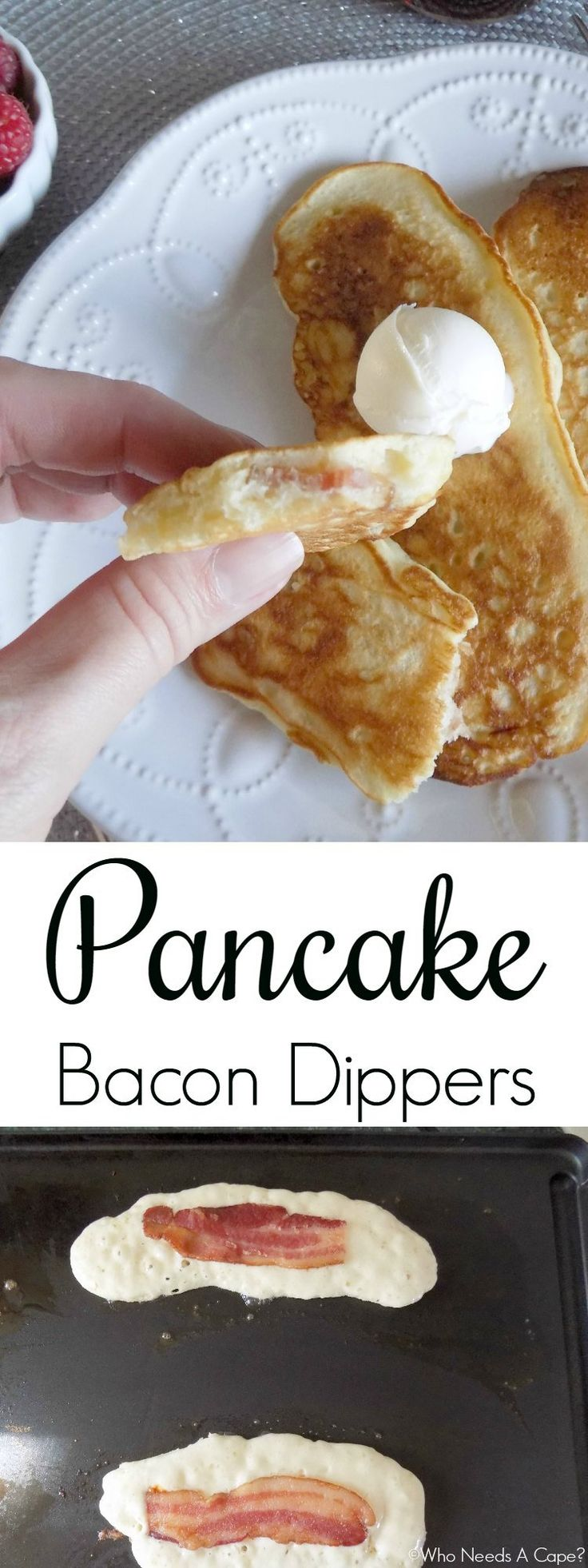 These Pancake Bacon Dippers are a fun way to enjoy pancakes and bacon at the same time. Perfect for holiday breakfast, or brunch, kids gobble them up. [ad] #BaconDoneWright #collectivebias