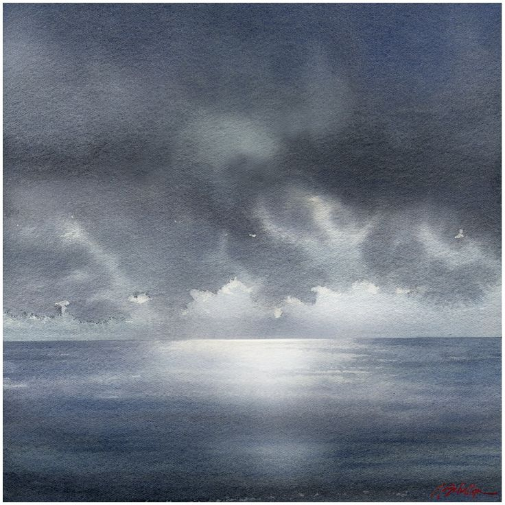 """""""sky and sea"""" thomas w schaller watercolor - 14x14 inches"""