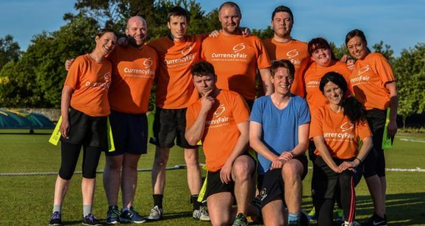 The CurrencyFair tag rugby team. Tag rugby: An oval ball with a social circle - irishtimes.com