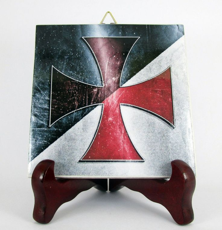 Knights Templar Cross Ceramic Tile Flag Masonic Templars