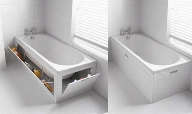 Удобные ниши под ванной