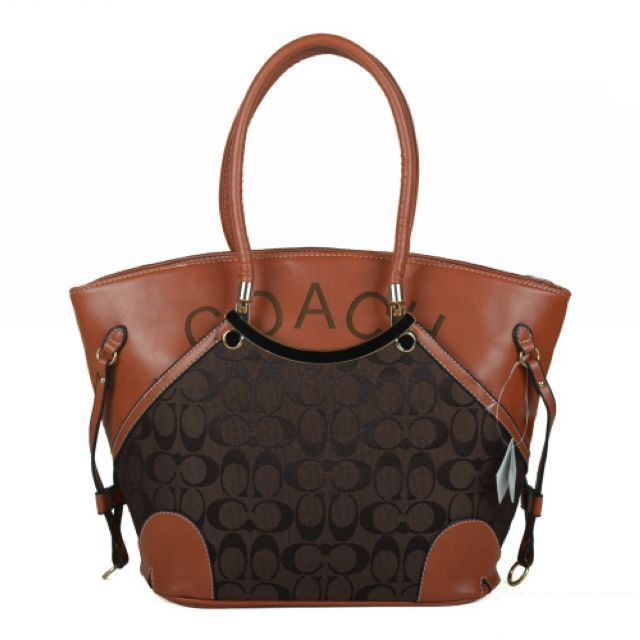 coach purse. This, may be the nicest coach bag I have ever seen. I think the addition of the leather finishes it off beautifully MUST HAVE!