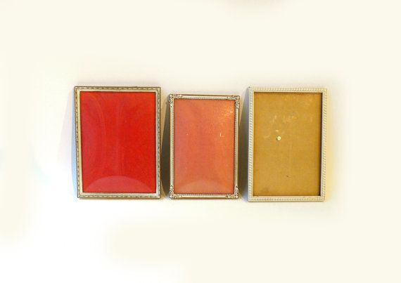Three 1950's vintage brass and metal photo frames by evaelena