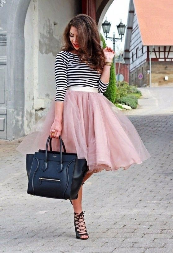 Such a cute look paired with a stripy top and classic heels and handbag! Perfect for a spring day. | Why Ballerina Skirt and the Biggest Trend of 2018