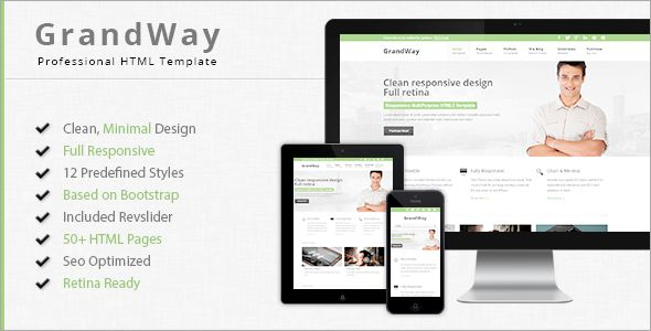 GrandWay - Fully Responsive HTML5/CSS3 Template . GrandWay has features such as High Resolution: Yes, Compatible Browsers: IE9, IE10, IE11, Firefox, Safari, Opera, Chrome, Compatible With: Bootstrap 3.x, Columns: 4+