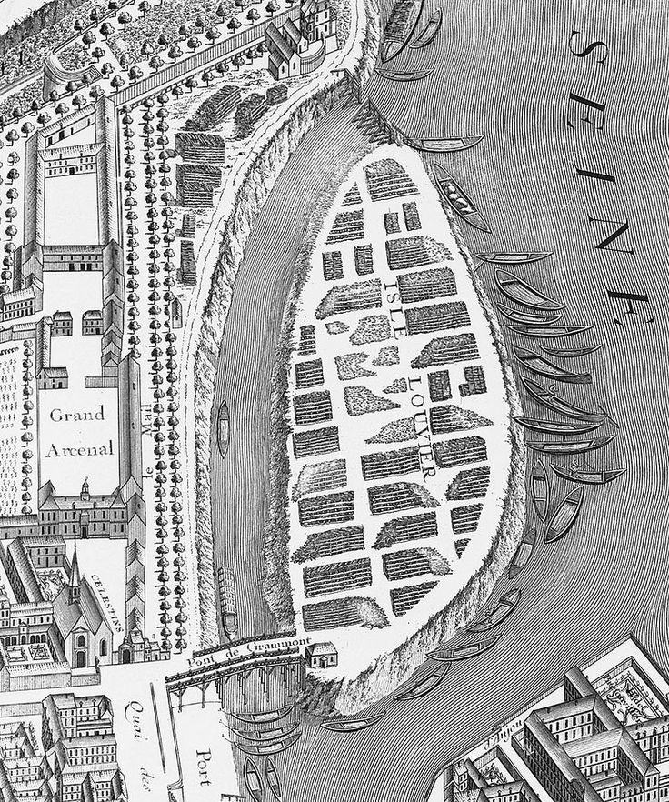 Île Louviers sur le plan de Turgot (1734–1736) (détail) - Île Louviers — Wikipédia