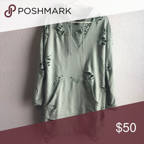 MAKE AN OFFER ✨ Distressed Hoodie Dress Small -- made from a forever 21 hoodie dress -- 1 of 1 -- branded for views -- price firm-- tags destroyed during pre wash Yeezy Dresses Mini