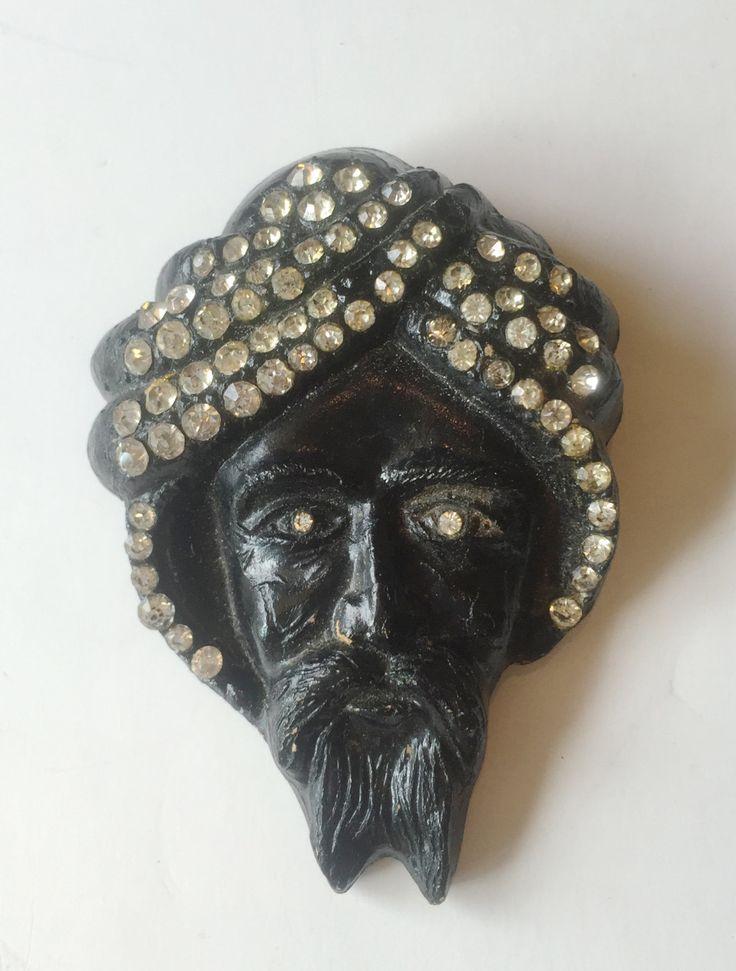 1930's Art Deco Bog Wood Blackamoor Carved Figural Face | Bearded Man with Rhinestone Turban by VeraciousVintageCo on Etsy