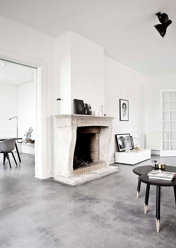 i've wanted to paint our wood floors for years now but my hubby might get more inspired by a cement floor like this...