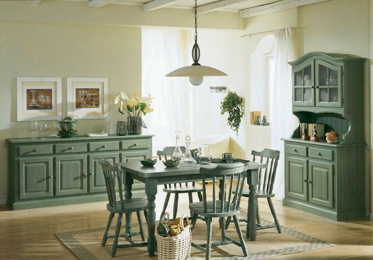 Soggiorno stile rustico colore verde legno di pino for Soggiorno rustico