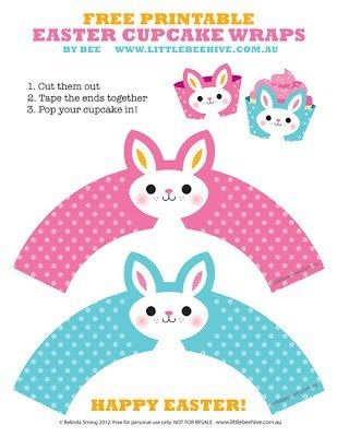 Free Printable: Easter Bunny Cupcake Wrappers