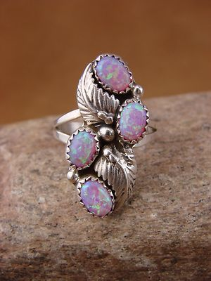 Navajo Indian Jewelry Sterling Silver Opal Cluster Ring