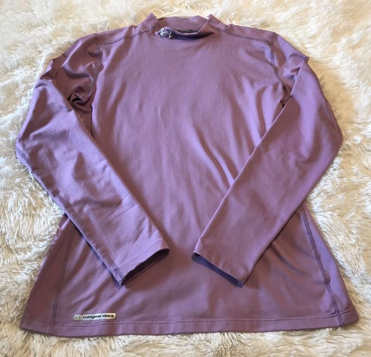 Womens UNDER ARMOUR Cold Gear Fitted Mock Shirt Large Purple Long Sleeve Top #Underarmour #ShirtsTops