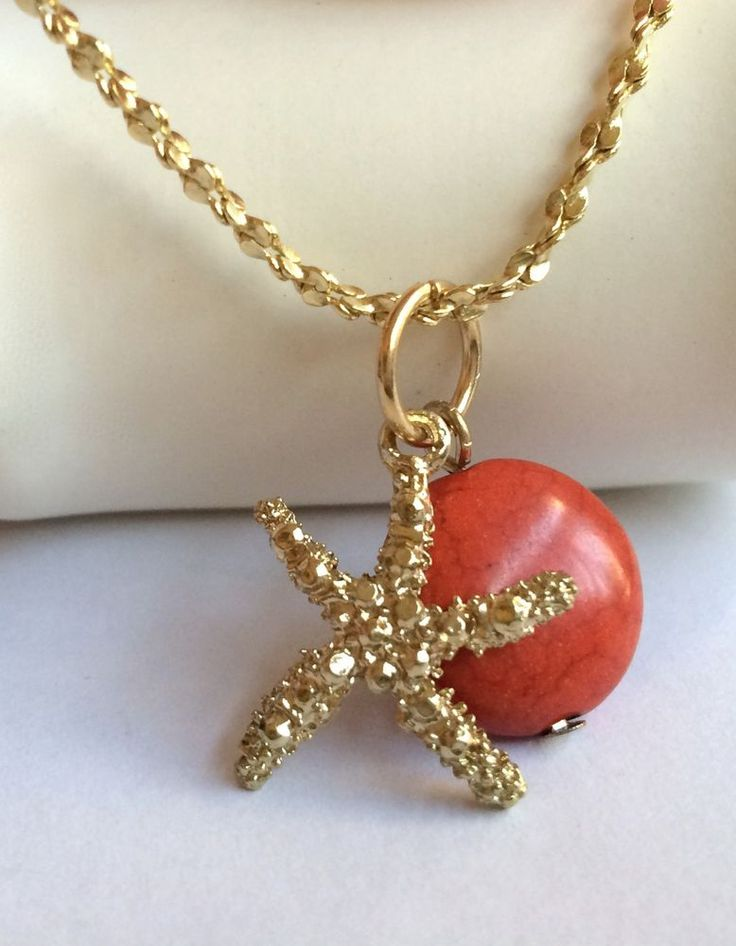 Starfish Necklace Red Coral Stone Gold Plated Island Beach Sea Life 24 Inch USA #Unbranded #Pendant