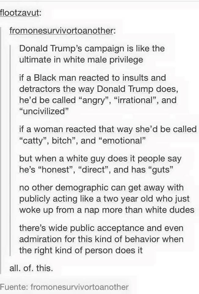 Donald Trump defines ultimate white male privilege by his behavior.