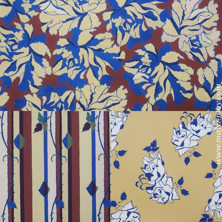 Wallpaper print. William Morris inspired. Textile print collection by Angela Kurnia. Color guache.#prints #textiledesign #art #painting #designer #summer #floral #wallpaper