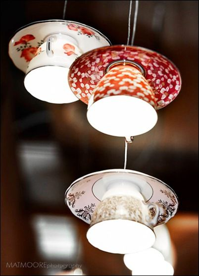 hanging lamps made from teacups and saucers