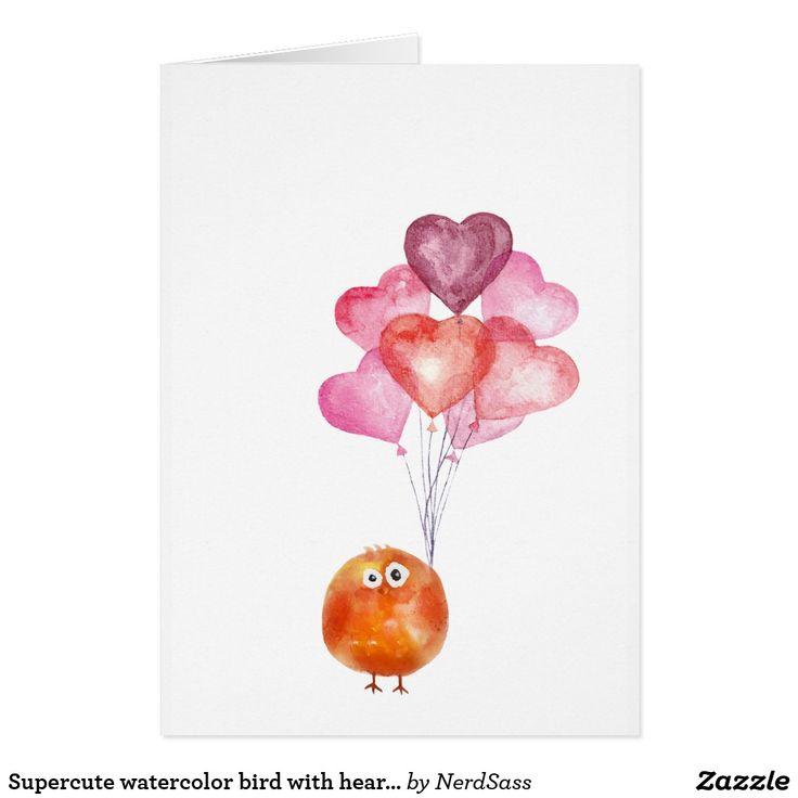 Supercute watercolor bird with heart balloons