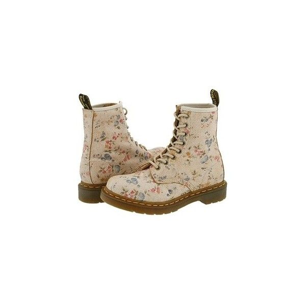 Floral Doc Martens ❤ liked on Polyvore featuring shoes, boots, ankle booties, zapatos, botas, floral booties, dr. martens, floral boots, dr martens boots and flower print boots