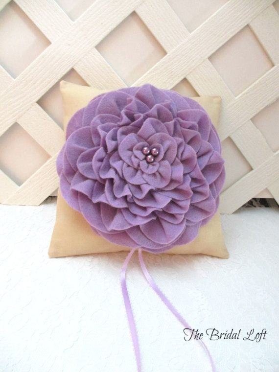 Champagne and Lavender Wedding Ring Pillow, Orchid Ring Bearer Pillow, by BridalLoft, on Etsy