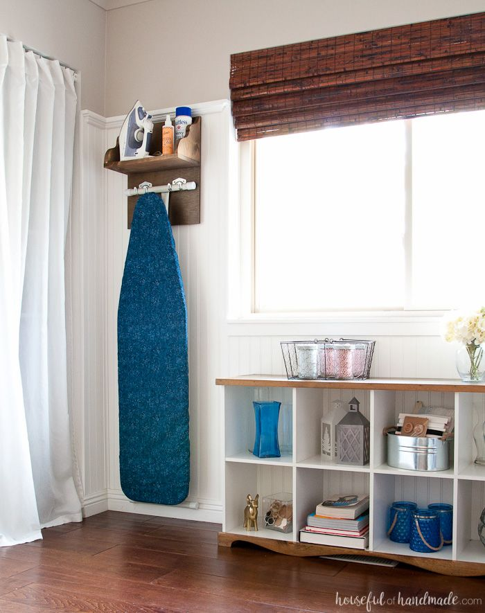 Create the perfect place to store your iron and supplies. This easy DIY Iron Holder with Ironing Board Storage is a quick build that will keep your laundry room or craft room organized. Free build plans on Housefulofhandmade.com | Laundry Room Storage Ideas | Ironing Board Hanger | Iron Shelf | Things to Build with Scraps | $100 Room Challenge