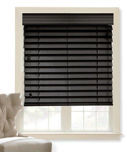 Wood blinds 2in veneto black 24in x 36in by shades for 2 inch window blinds
