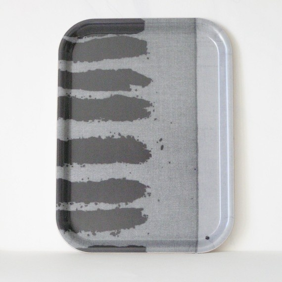 wood  tv Trayplate small rectangular striped in  grey by Birribe on etsy.com