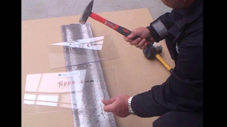 Kladivo test pevnosti Plexisklo 4mm voci Plna PC 2mm