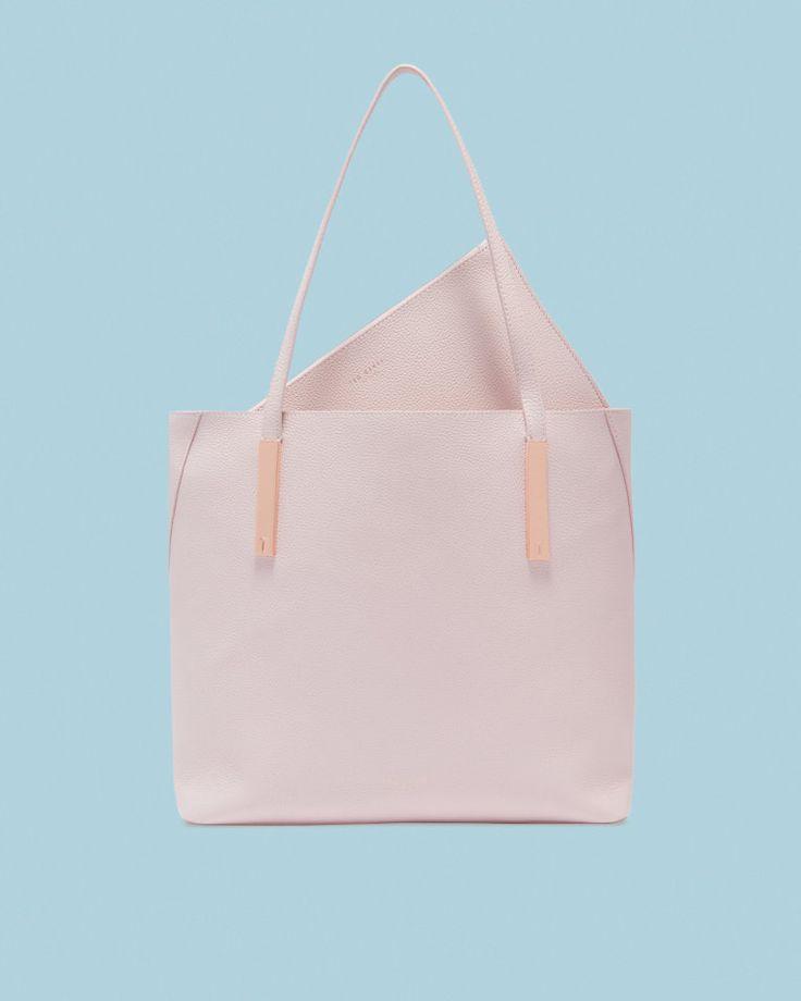 Bar detail leather shopper bag - Dusky Pink | Bags | Ted Baker UK