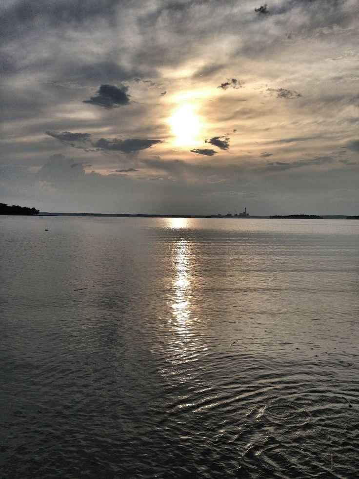 Sunset in Mälaren outside Västerås in Sweden