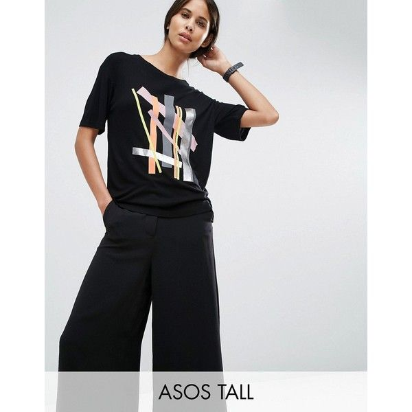 ASOS TALL T-Shirt with Cutabout Colour Block Print in Slouchy Rib (325 EGP) ❤ liked on Polyvore featuring tops, t-shirts, multi, rib tee, ribbed t shirt, pattern tees, print tees and oversized tops